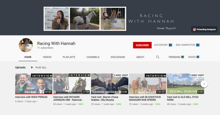 Racing With Hannah – YouTube Channel